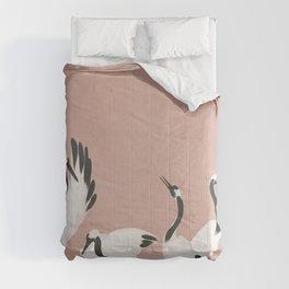 Crane Dance - Mauve Pink Comforters
