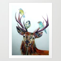 Stag and birds Art Print