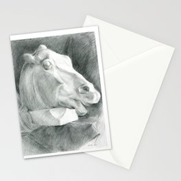 Portrait of a sculptural head of a horse, drawing with a graphite pencil Stationery Cards