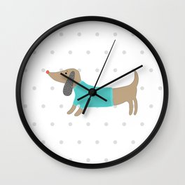 Cute hand drawn dog in dotted background Wall Clock