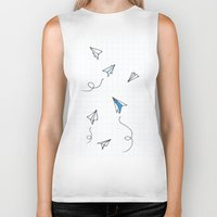 planes Biker Tanks featuring Paper Planes by Svitlana M