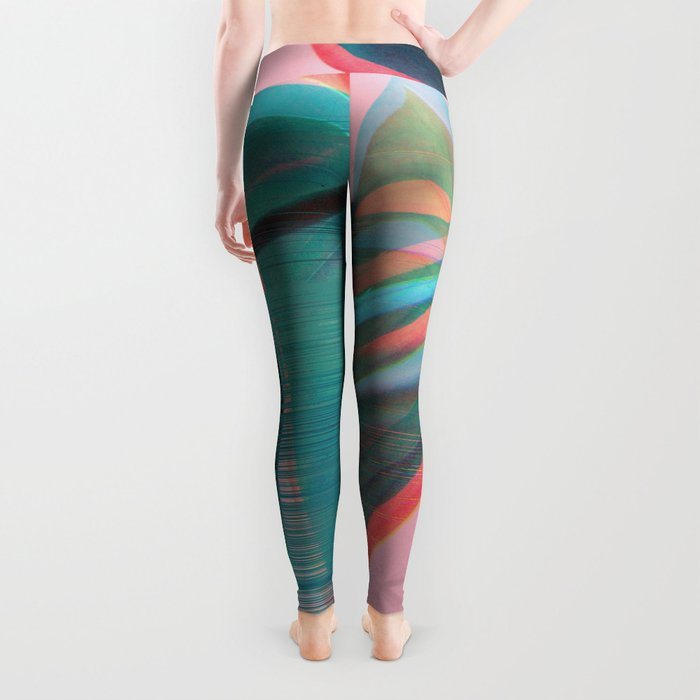 Glitch Monstera Theme Leggings