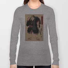 Sumo Wrestler Japanese Woodcut Block Print Long Sleeve T-shirt