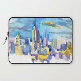 blue icing, print or original watercolor painting by Jessie Novik from rooftop view overlooking NYC Laptop Sleeve