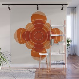 Earthy Red Scandinavian Floral Design Wall Mural