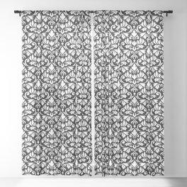 Flourish Damask Big Ptn White on Black Sheer Curtain