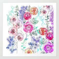 Pastel Rose Garden 02 Art Print