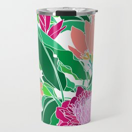 Bird of Paradise + Ginger Tropical Floral in White Travel Mug
