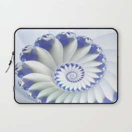 Blue Nautilus Abstract Fractal Art Laptop Sleeve