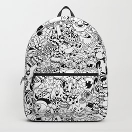 Christmas Doodles Funny and Cute Black and White Characters Backpack