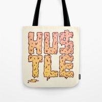 hustle Tote Bags featuring HUSTLE by Wesley Bird
