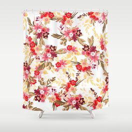 Pastel pink red brown modern hand drawn fall floral illustration Shower Curtain
