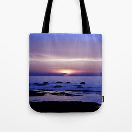 Blue and Purple Sunset on the Sea Tote Bag