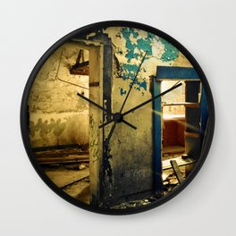 Doorways in and Doorways Out (Urban Decay, Abandoned Places) Wall Clock
