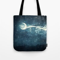 river Tote Bags featuring Moon River by Paula Belle Flores