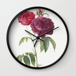 Purple French Rose, Rosa gallica purpuro-violacea magna from Les Roses (1817-1824) by Pierre-Joseph Redoute Wall Clock