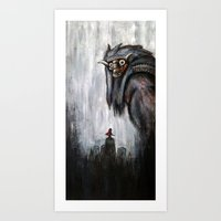 shadow of the colossus Art Prints featuring Wander and the Colossus by Doom