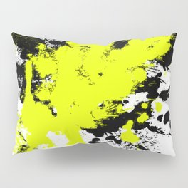 Surprise! Black and yellow abstract paint splat artwork Pillow Sham