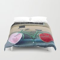 florence Duvet Covers featuring Watermelon Bicycle in Florence by FranArt