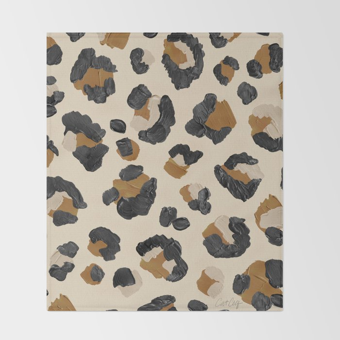 Leopard Print – Neutral Gold Light Palette Throw Blanket