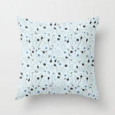 Florcitas Aqua Throw Pillow