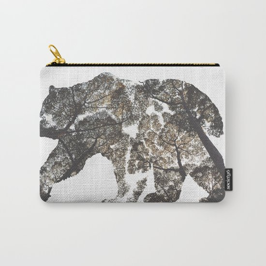 Bear Silhouette With Trees Carry-All Pouch