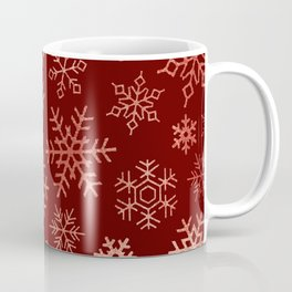 Snowflakes collection _ Cherry Red & Rose Gold  Coffee Mug