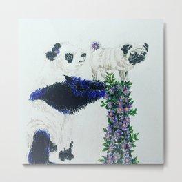 Pug and Panda Metal Print