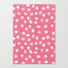 Linocut Stars- Blush & White Canvas Print