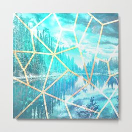 Stained Glass Winter Metal Print