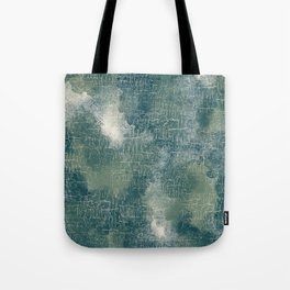 Grunge Abstract Art in Teal, Olive Green and Cream Tote Bag
