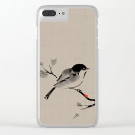 Bird on tree Asian brush painting Clear iPhone Case