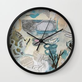 signal lake - mixed media collage in teal, pink, cream, white, and black by Wall Clock