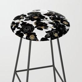 Modern Elegant Black White and Gold Floral Pattern Bar Stool