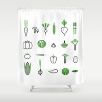 vegetables Shower Curtains featuring Vegetables set by Lera Efremova