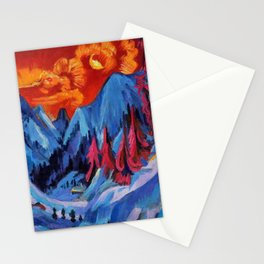 Alpine Mountain Landscape Under a Winter Moon by Ernst Ludwig Kirchner Stationery Cards