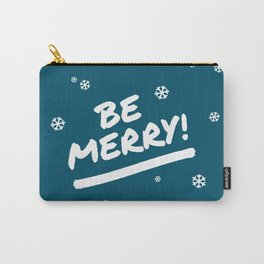 Peacock Blue Be Merry Christmas Snowflakes Carry-All Pouch