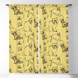Minimal Black Line Cat Pattern Yellow Blackout Curtain