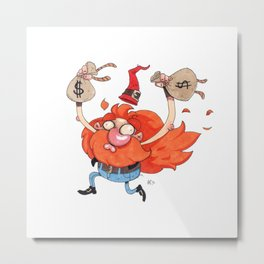 The Rich Burning Criminal Garden Gnome - giclée print Metal Print