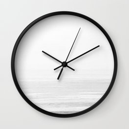 Washed Out Ocean Waves B&W // California Beach Surf Horizon Summer Sunrise Abstract Photograph Vibes Wall Clock