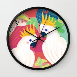 Cockatoo Collage Wall Clock
