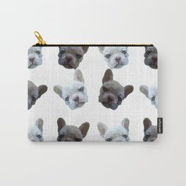 French Bulldog pattern (Black and White(No background)) Carry-All Pouch