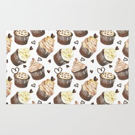Watercolor cupcakes Rug