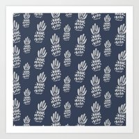 gray pattern Art Prints featuring Pineapple Pattern - Navy + Gray by Allyson Johnson