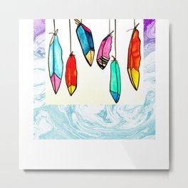 Hand drawn watercolor stained glass feathers Metal Print