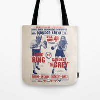 lord of the ring Tote Bags featuring Lord of the Ring by Vó Maria