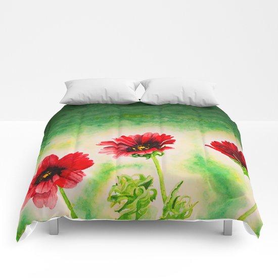 Three Red Flowers Comforters