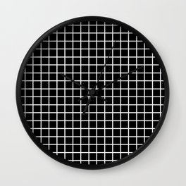 fine white  grid on black background - black and white pattern Wall Clock