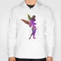 tinker bell Hoodies featuring Tinker bell in watercolor by Paulrommer