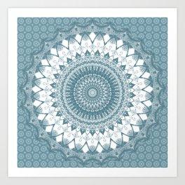 Boho Blue Mandala Art Print
